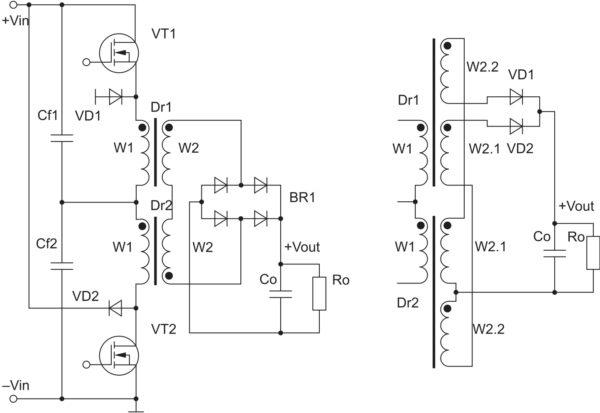 «Высоковольтный» вариант 2ДППК с двумя вариантами вторичных выпрямителей