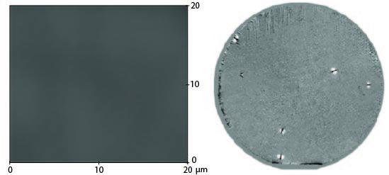 AFM* изображение центра пластины (слева) и всей пластины 4H SiC диаметром 76 мм, эпитаксия 100 мкм, полученное с помощью лазерной светорассеивающей топографии (справа). Средняя шероховатость около 0,7 нм, измеренная общая плотность дефектов 1,9/см2. *AFM (Atomic-force microscopy) – атомная сканирующая зондовая микроскопия очень высокого разрешения (доли нанометра), в 1000 раз превышает лимит оптический дифракции.