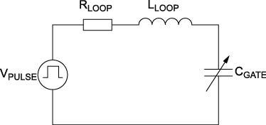 Эквивалентная RLC-схема затвора SiC, управляемого импульсным источником напряжения