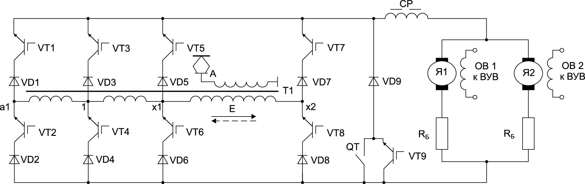 Принципиальная схема предлагаемого выпрямительно-инверторного преобразователя в режиме рекуперативного торможения