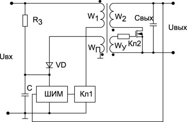 Функциональная схема преобразователя с пассивным синхронным выпрямителем на выходе