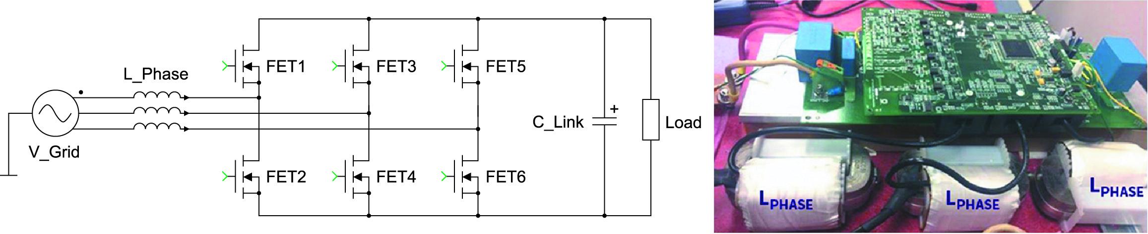 Схема 2L трехфазного силового каскада AFE, прототип AFE мощностью 20 кВт на базе двух параллельных C3M0065100K на ключ