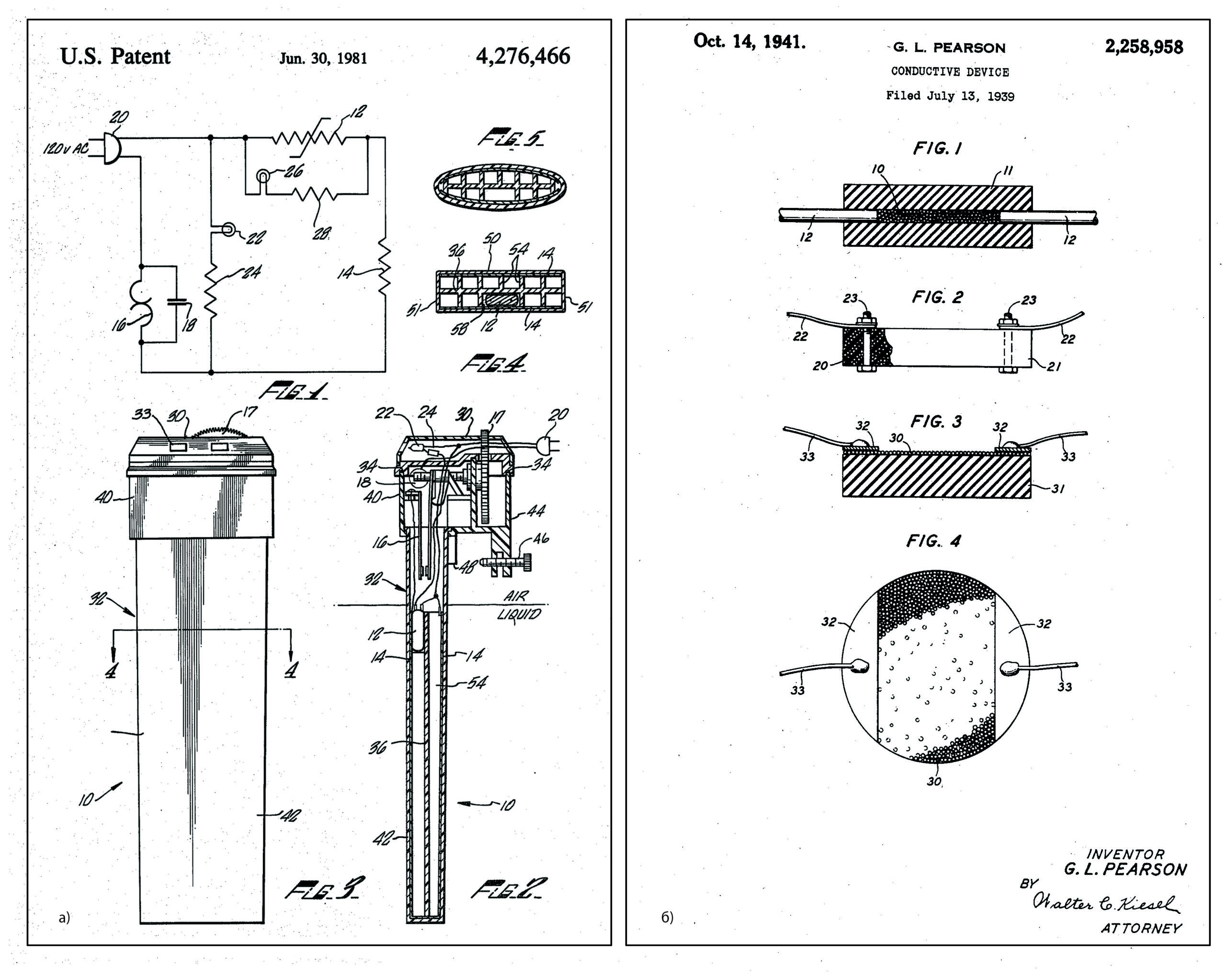 Страница из патента US2258958A «Conductive device»