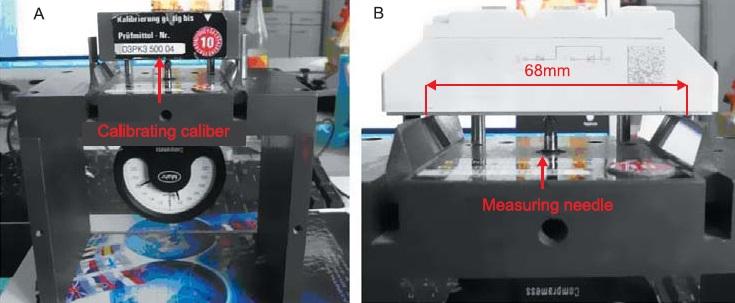 Контроль технологического изгиба пластины модуля SEMIPACK 1.5:  а) калибровка на тестовой плате с нулевым изгибом; б) измерение с помощью щупа