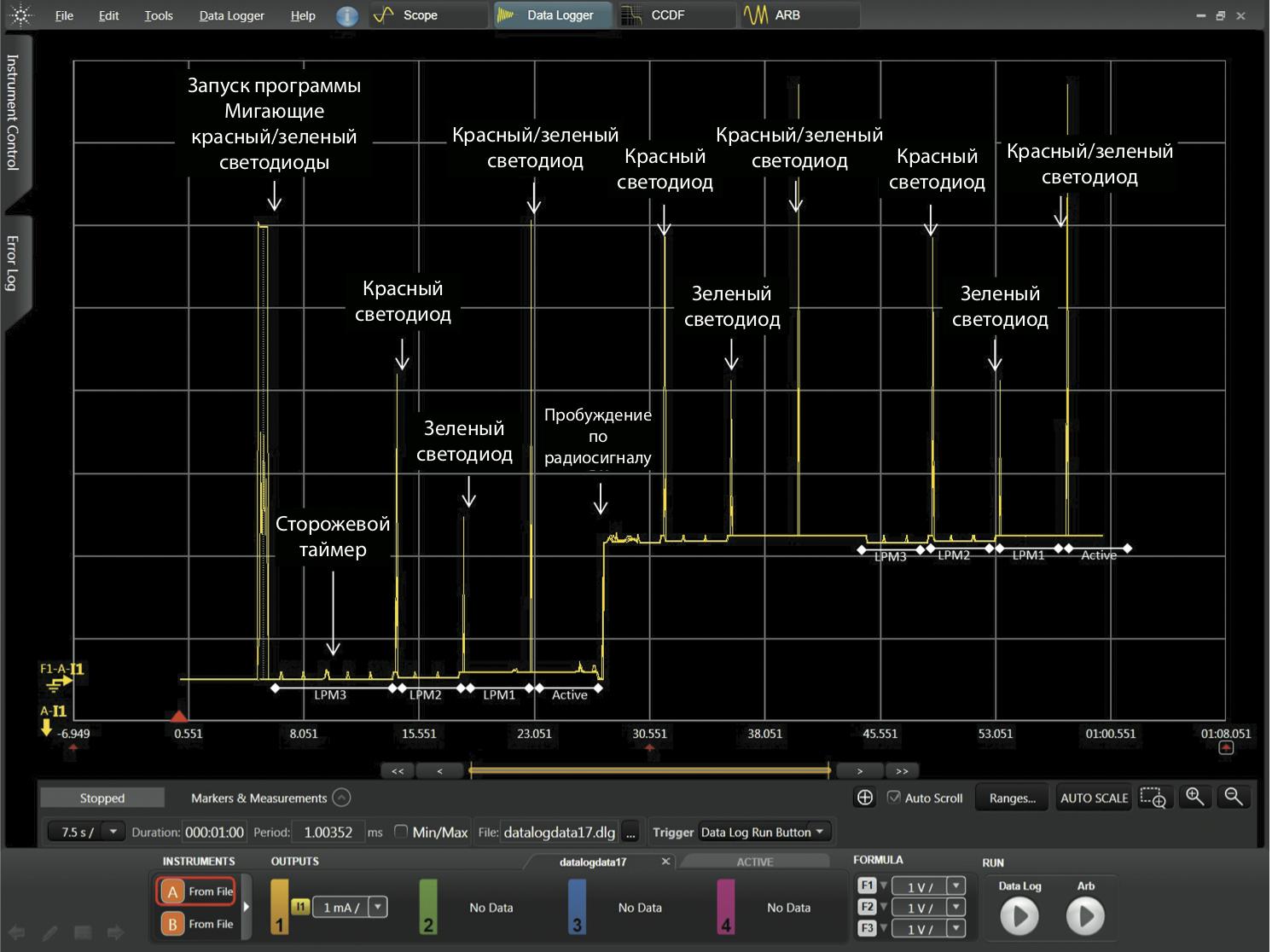 Снимок экрана ПО управления и анализа Agilent 14585A