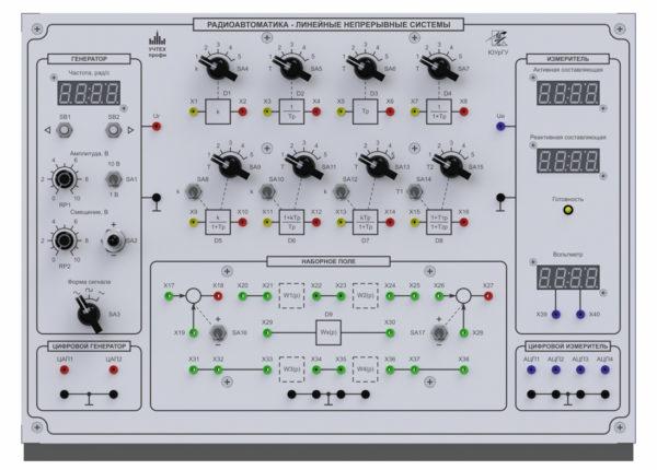 Лицевая панель стенда «Радиоавтоматика — линейные непрерывные системы»