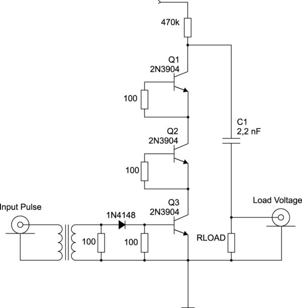 Генератор импульсов с последовательно соединенными лавинными транзисторами