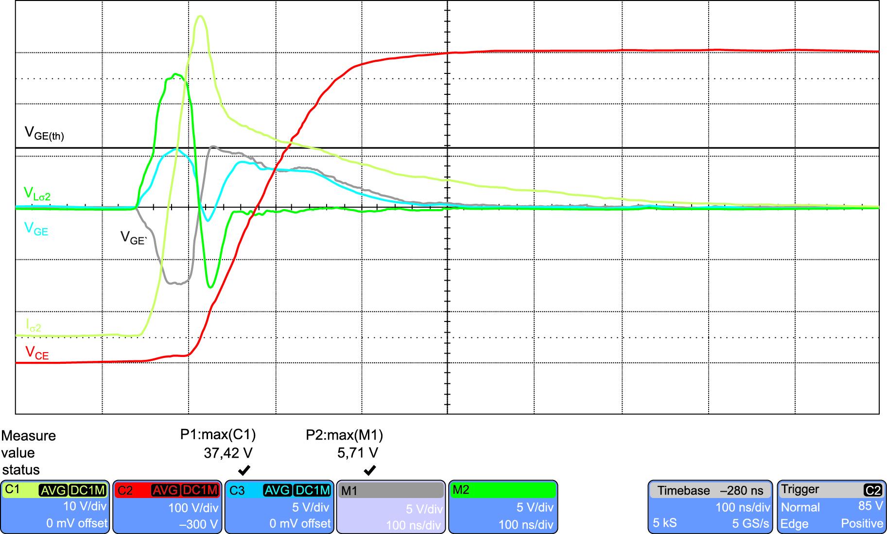 Выключение антипараллельного диода при RG = 18 Ом и CGEext = 0
