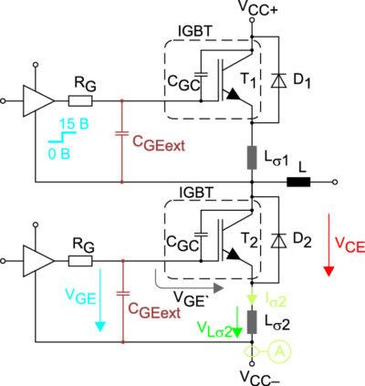 Схема измерений динамических характеристик модуля MiniSKiiP 24NAB12T4V1 с дополнительной емкостью CGEext