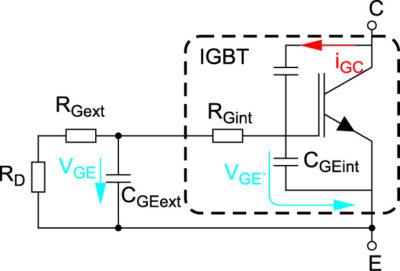 Эквивалентная схема цепи затвора IGBT
