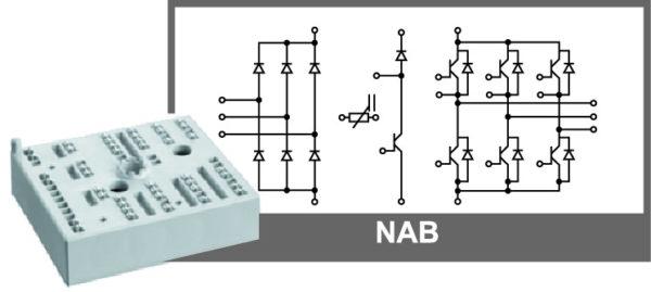 Внешний вид и электрическая схема модуля MiniSKiiP NAB