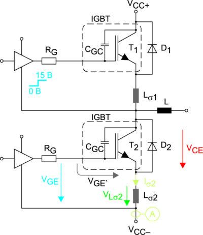 Схема измерений динамических характеристик модуля MiniSKiiP 24NAB12T4V1