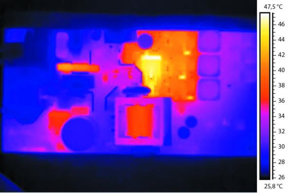 Тепловизионный снимок компонентов источника питания REDIN.