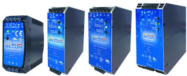 Линейка источников питания REDIN от RECOM: ИП мощностью 45 (60), 120, 240, 480 Вт (слева направо)