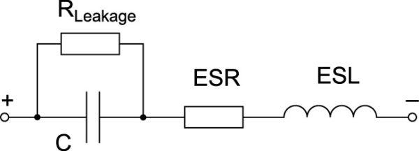 Эквивалентная схема реального электролитического конденсатора