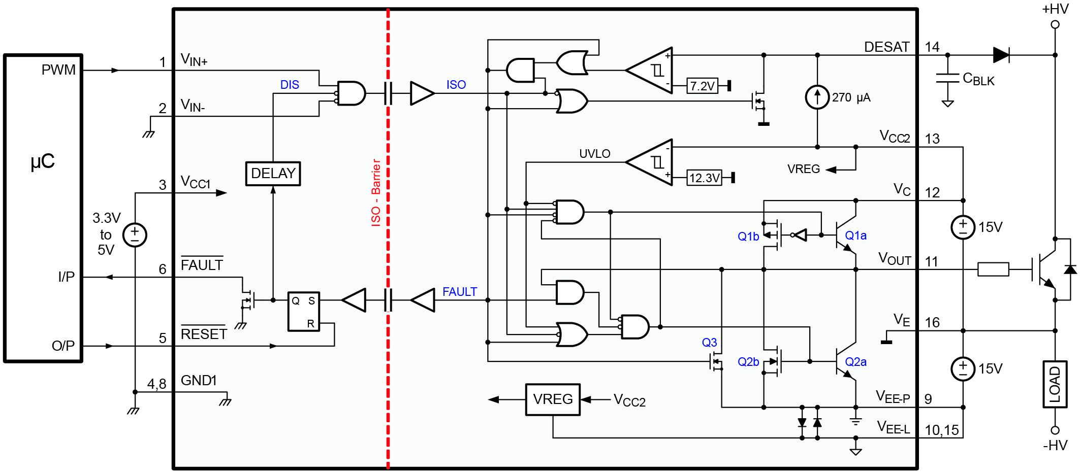 Структурная схема микросхемы ISO5500 и способ ее включения для неинвертирующей конфигурации входа и с применением IGBT