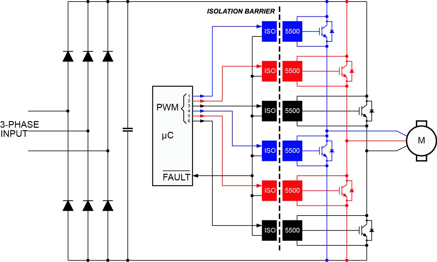 Типовая схема трехфазного инвертора с использованием драйверов ISO5500