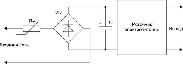 Ограничение пускового тока NTC-терморезистором