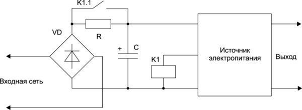 Ограничение пускового тока резистором