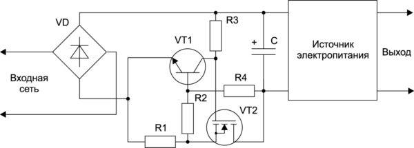 Ограничение пускового тока полевым транзистором