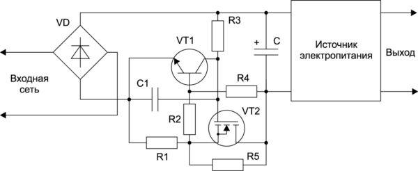 Ограничение пускового тока резистором, шунтируемым транзистором