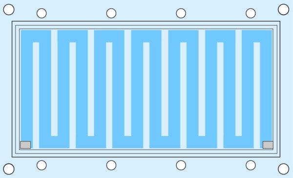 Типичная конструкция каналов охлаждения жидкостного охладителя