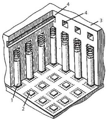 Отвод тепла откристаллов полупроводниковых СБИС через алюминиевые подпружиненные плунжеры