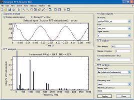 Окно спектрального анализа длянапряжения нагрузки преобразователя постоянного напряжения втрехфазное переменное напряжение содним мостом
