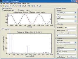 Окно спектрального анализа длянапряжения нагрузки преобразователя постоянного напряжения втрехфазное переменное напряжение сдвумя мостами