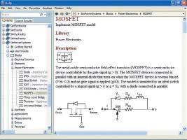 Окно справки пакета расширения SimPowerSystems сданными макромодели мощного полевого транзистора