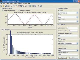 Окно спектрального анализа одной фазы тока нагрузки дляпреобразователя рис. 22