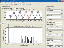 Окно спектрального анализа одной фазы тока нагрузки дляпреобразователя рис.28