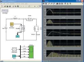Диаграмма модели преобразователя постоянного напряжения в повышенное постоянное напряжение иосциллограммы его работы