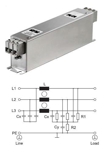 Специальный трехфазный фильтр типа FN 3268 производства компании Schaffner для предотвращения влияния гармоник на УЗО всех типов
