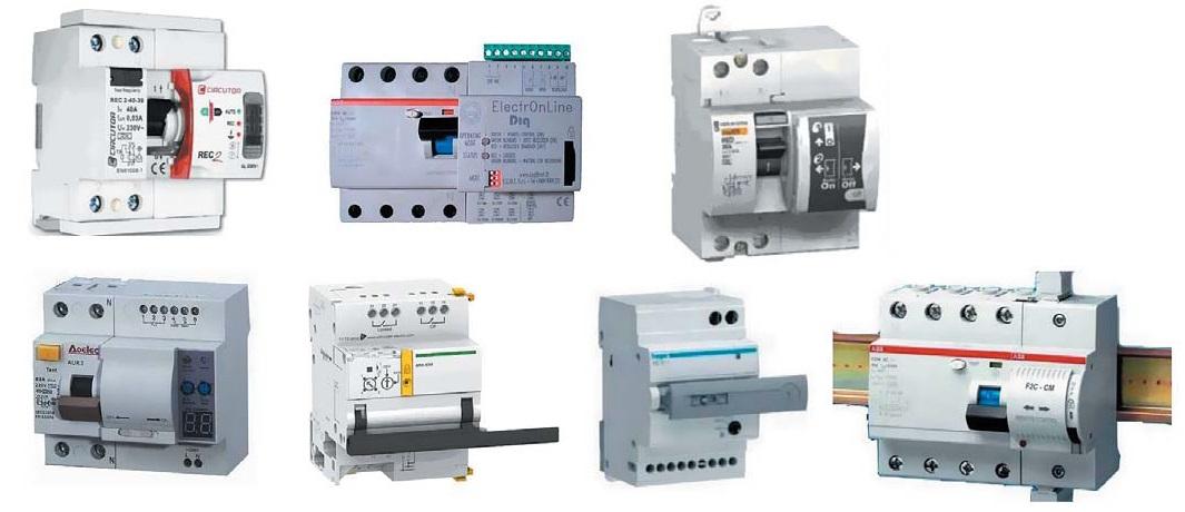 Различные типы устройств АПВ для УЗО (некоторые показаны совместно сУЗО)