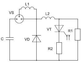 Эквивалентная схема испытательного стенда фототиристора