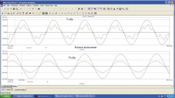 Входной ток и напряжение сети при фазном включении ИЕП
