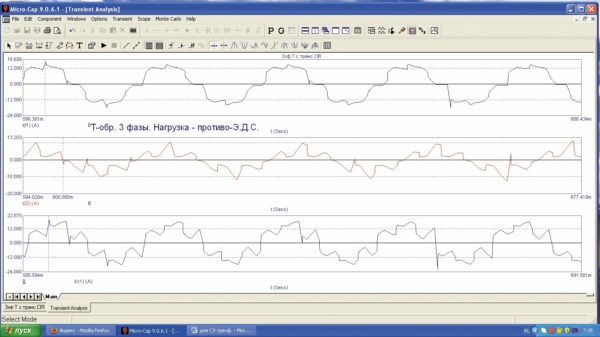 Временные зависимости токов реактивных элементов Т-образной схемы ИЕП при нагрузке в виде противо-ЭДС