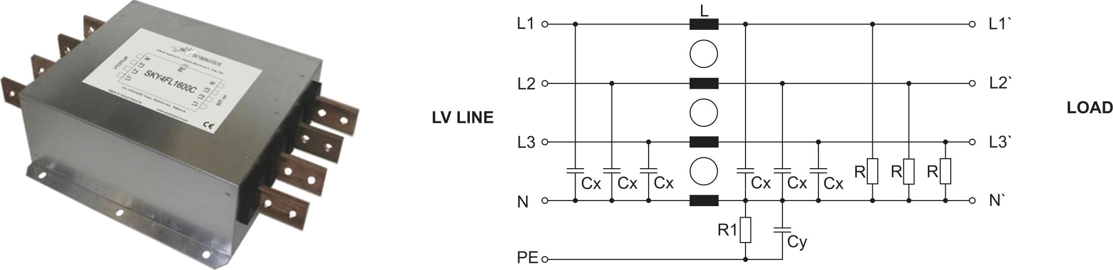 Внешний вид и принципиальная схема помехоподавляющего фильтра серии SKY4FL1600C