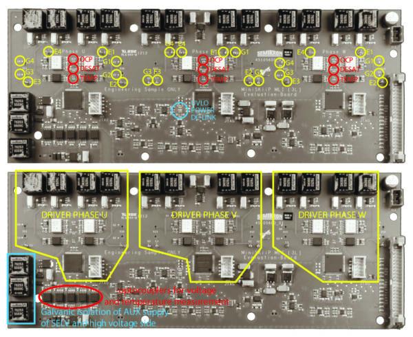 Плата драйвера: контрольные точки, светодиоды, функциональные группы