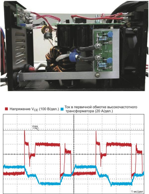 Демонстрационный прототип мостового сварочного аппарата мощностью 3,5 кВт, соответствующие осциллограммы с временной разверткой 2мкс/дел.