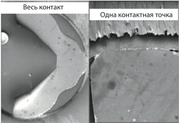 Микрография поперечного сечения плотно прилегающих поверхностей в усиленном прижимном соединении (т. н. «легкая прессовая посадка»)