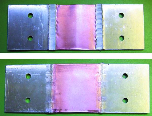 Образец биметалла, полученного односторонней сваркой пакета медной фольги толщиной 0,3 мм и алюминиевых пластин толщиной 3 мм