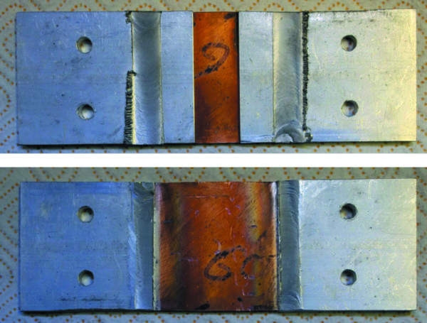 Образец комбинированной шины, полученный сваркой пластины М1 толщиной 3 мм и пластин сплава АА 6060 толщиной 5 мм
