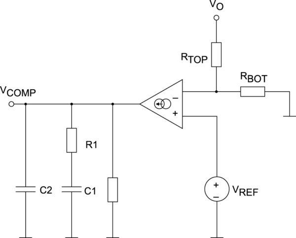 Усилитель ошибки, выполненный на базе усилителя тока, управляемого напряжением