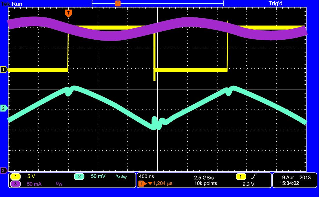 Напряжение на силовом ключе (желтый), DvIN (составляющая напряжения переменного тока, голубой), входной ток IIN (лиловый).