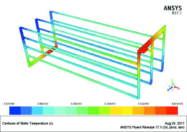 Распределение температуры в системе из четырех узких шин с сечением 3×60мм