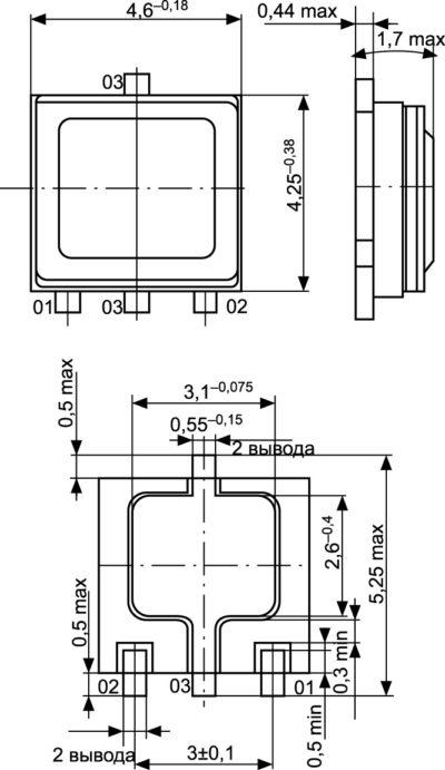 Общий вид, габаритные, установочные и присоединительные размеры транзисторов в корпусе КТ-99-1