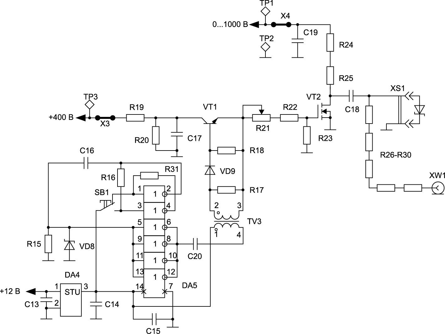 Схема измерительной части тестера для исследования стойкости SiC-диодов Шоттки к скорости нарастания обратного напряжения