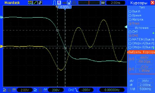 Осциллограммы напряжения (канал 2) и тока (канал 1) для диода в корпусе КТ-28-1 (при амплитуде импульса обратного напряжения V = 900 В (dV/dt = 184 В/нс)